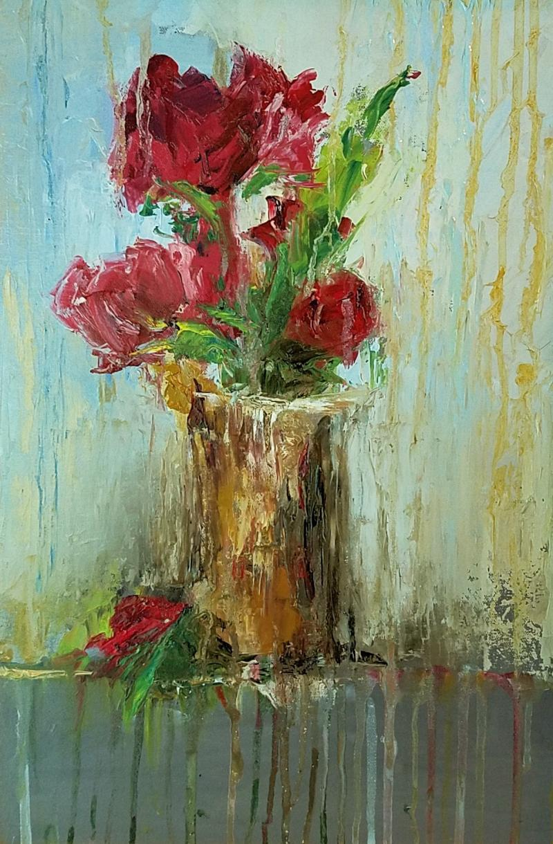 Dripping Red Roses - oil on canvas - 16 x 20