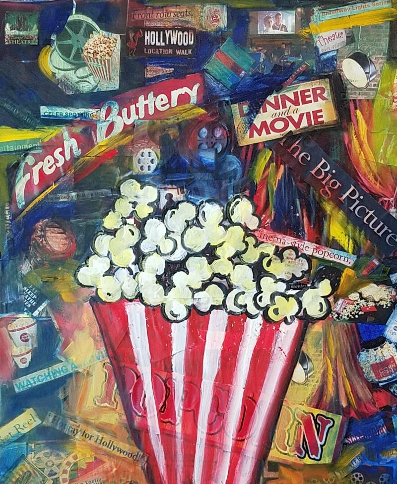 Movie Night - collage mixed media -