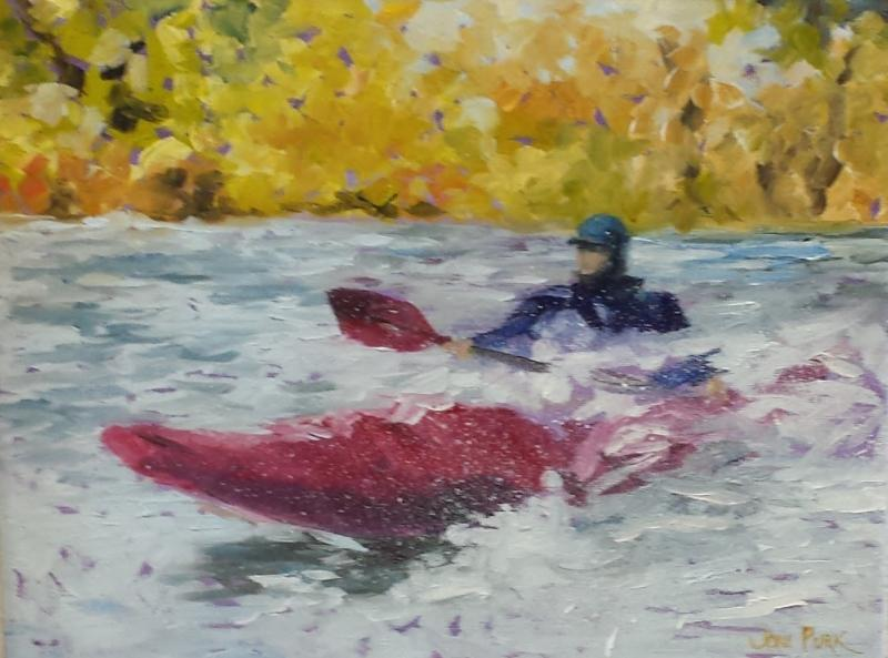 River Kayaking - Oil on Panel